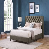 High Back Grey Platform Bed